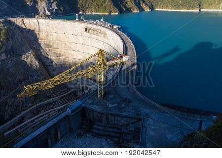 Inguri hydroelectric power station and its reservoir dawn morning