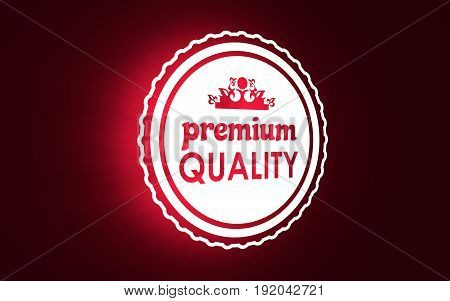 Stamp icon. Graphic design elements. 3D rendering. Premium quality text and crown symbol. Neon illumination