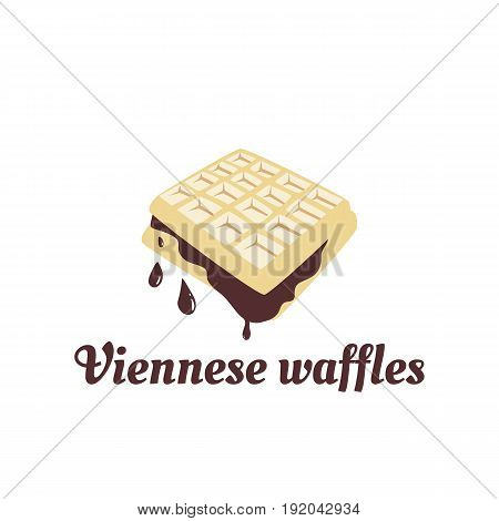 Illustration of Viennese waffles with chocolate topping. Vector logo template for waffle cafe restaurant menu or banner design.