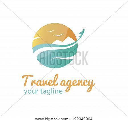 Vector logo template for travel agency. Illustration of sea gulls in the sky and the airplane flying away. Creative logotype. EPS10. Travel icon.
