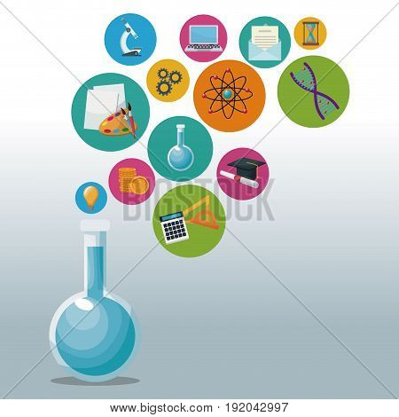 glass beaker for laboratory with bubbles icons academic knowledge vector illustration