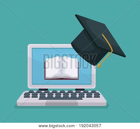 color background tech laptop with book in display and graduation cap vector illustration
