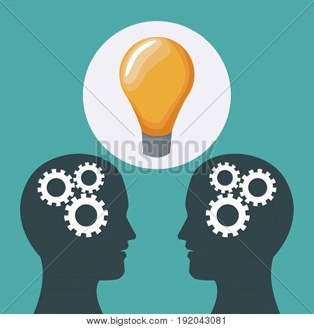 color background two heads of people with mechanisms and solution icon vector illustration