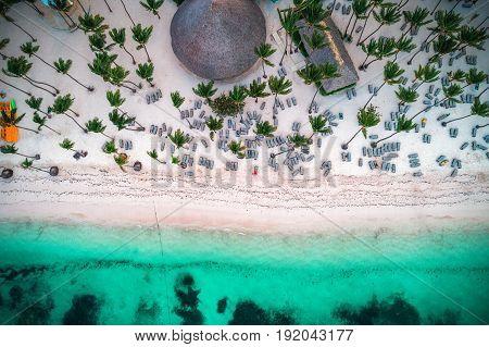 Aerial view of tropical island beach. Punta Cana. Dominican Republic.