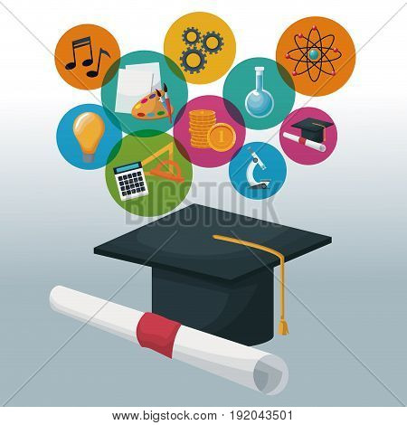 graduation cap and certificate with bubbles icons academic knowledge vector illustration