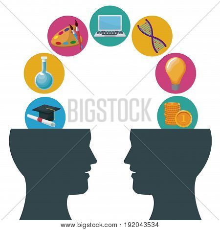 color background human head with communication and bubbles icon knowledge vector illustration