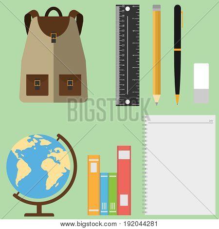 A set of schoolboy globe backpack textbooks pencils. Flat design vector illustration vector.