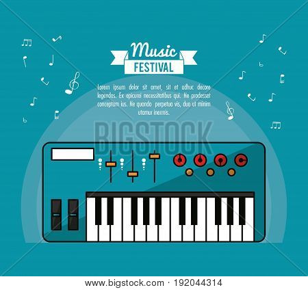 poster music festival in blue background with electronic piano vector illustration