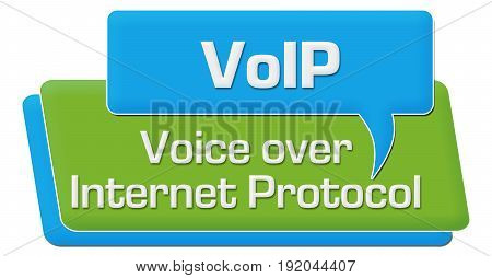 VoIP concept image with text written over green blue background.