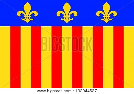 Flag of Millau is a commune in the Aveyron department in the French Midi-Pyrenees region in southern France. Vector illustration