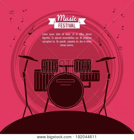 poster music festival in magenta background with battery instrument vector illustration