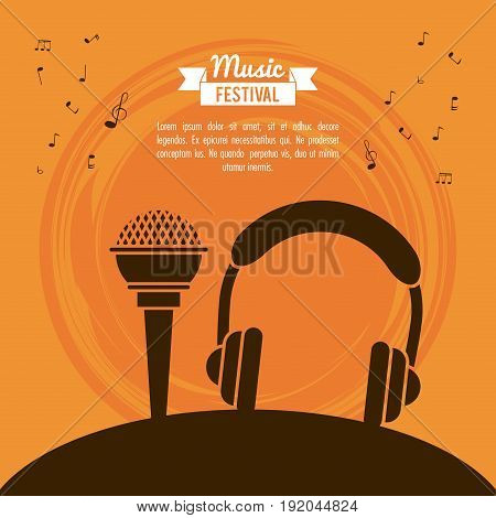 poster music festival in orange background with microphone and stereo headset vector illustration