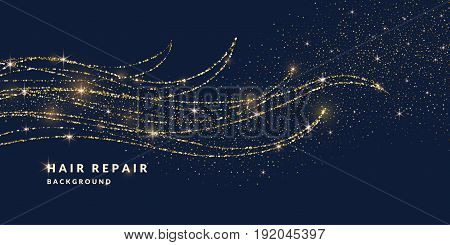 Vector illustration of magic waves, ringlets with shining particles of glitter on a dark background. Abstract concept for template design of websites in the beauty industry and entertainment