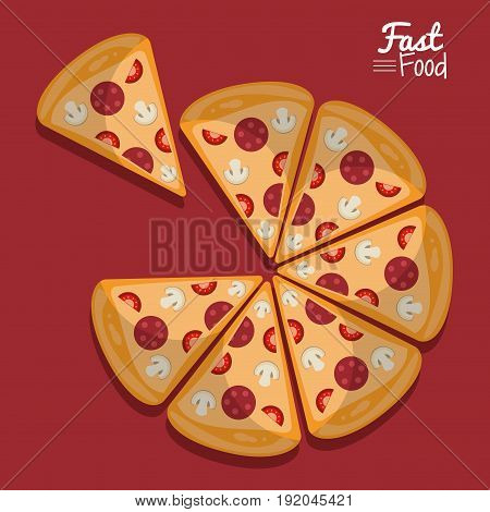 poster fast food in purple background with pizza in portions vector illustration