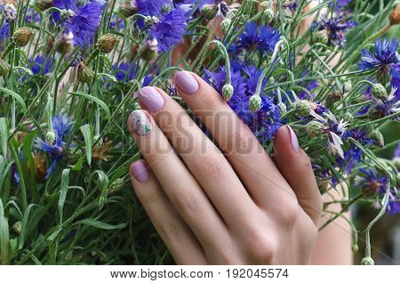 Female hands with lilac nail design holding flowers.