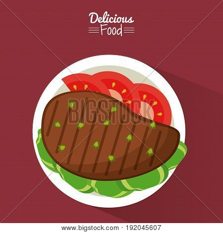 poster delicious food in purple background with dish of grilled meat with vegetables vector illustration