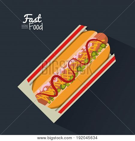 poster fast food in black background with hotdog vector illustration