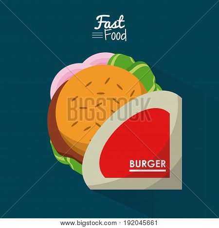 poster fast food in blue background with personal burger vector illustration