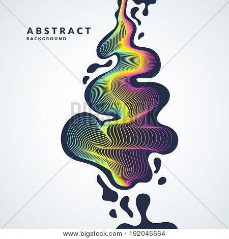 Abstract background with a dynamic waves, linesn and splashes in a bright colorful style on light background.