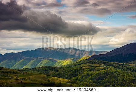 Rural Area In Mountains On Cloudy Day