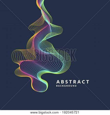 Abstract background with a dynamic waves, lines in a bright colorful style on dark background.