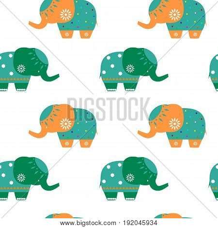 Elephants. Seamless pattern cute elephant Vector illustration Funny elephant seamless pattern Childish background