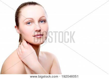 Portrait of girl with nude make-up with hand on neck isolated on white background free space for text. Girl with clean healthy skin on white copy space. Beauty model isolated on white