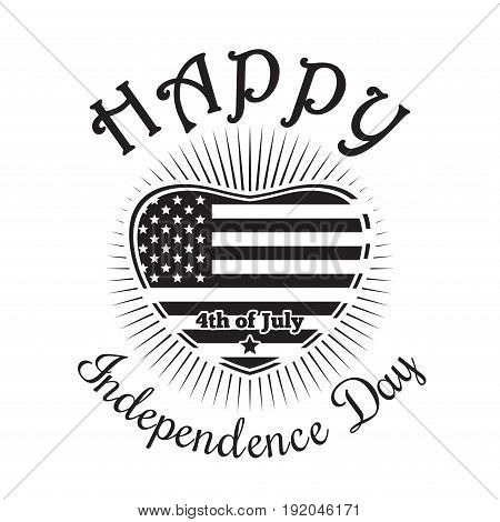 Independence Day icon. Happy Independence Day of America. 4th of July. US Flag in shape of heart. Black icon isolated on white background. Vector illustration
