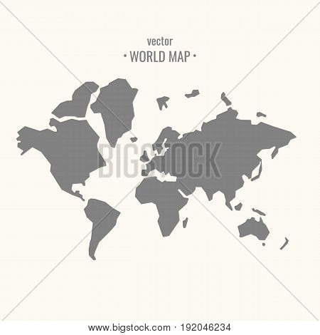 Vector illustration of world map in trendy flat minimal style on a light background.