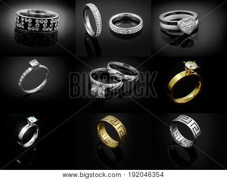 Set Of Rings Jewelry - One Color Background