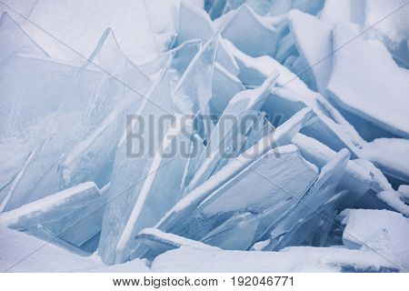 Transparent ice floes. Ice-drift of Baikal lake