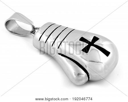 Pendant Necklace Boxing Gloves With A Cross