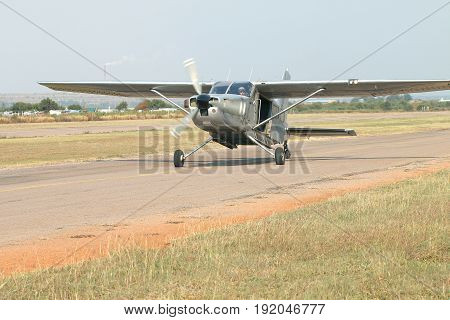 Pilot Landing One Of Two X328 Atlas Angel Turbine Specially Equipped Aircraft For Sky Divers Used At