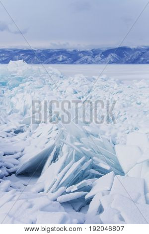 Hummock Ice Floes. Baikal Lake Winter Landscape.