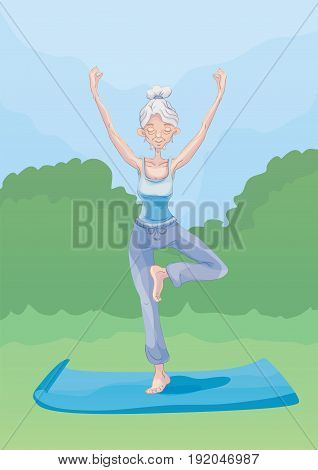An elderly gray-haired woman practice yoga outdoors, standing on one leg. Active lifestyle and sport activities in old age. Vector illustration.