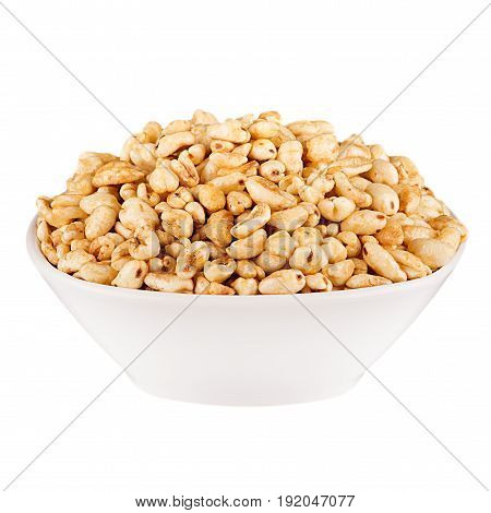 Puffed air rice wheat in bowl isolated on white background.