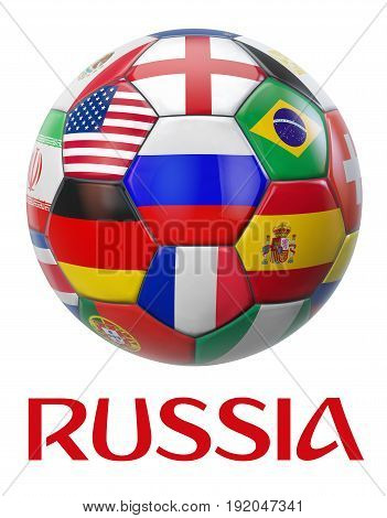 Russia Football with International Teams Flags. 3D illustration.
