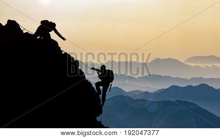 mountain range and peak climbing in the mountains