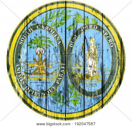 Flag of Seal South Carolina painted on wooden frame