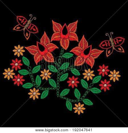 Embroidery stitches imitation folk red flower and butterfly. Fashion embroidery flower on black background. Embroidery flower vector.