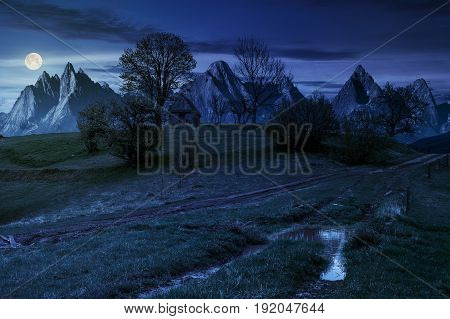 Woodshed Among Trees On A Hill By The Road In High Tatras At Night
