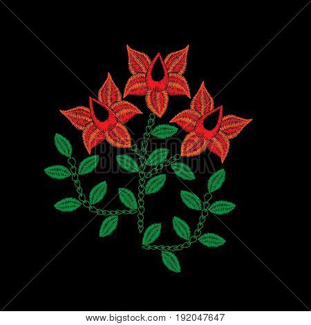 Embroidery stitches imitation folk red flower with green leaf. Fashion embroidery flower on black background. Embroidery flower vector.