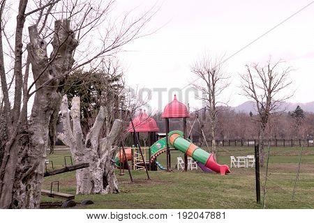 Children playground on yard in public park at spring summerat lonely at Fujiyoshida Japan.