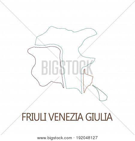 Friuli Venezia Giulia region on white background concept of a business tourism culture concept
