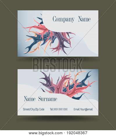 Business card template with colored spots. Vector illustration.