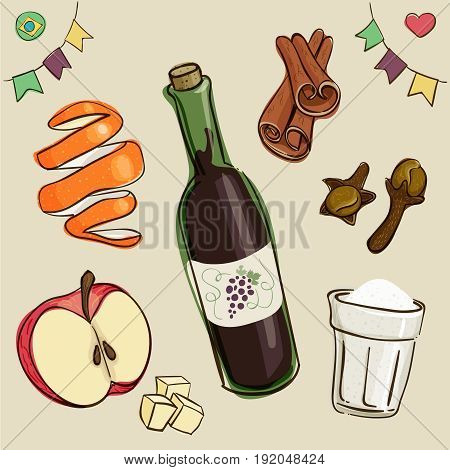 Mulled wine ingredients: wine, sugar; chopped apples; orange peel; cinnamon and dry cloves. Traditional beverage consumed during brazilian June Parties. Loose style joyful vector.