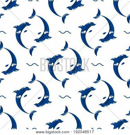 Cute dolphins aquatic marine nature ocean blue mammal sea water wildlife animal vector illustration. Swimming fish underwater beautiful seamless pattern tropical flipper dolphins.