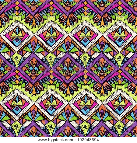 Tribal doodle pattern. Ethnic texture. Summer fabric design. Scribble geometric tribe shapes. Native seamless ornament for clothes or interior textile.