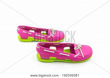 Colorful of Sandals shoes flip flops on white background.