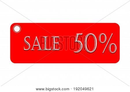 Red label with 50% sign on white background concept of a business concept